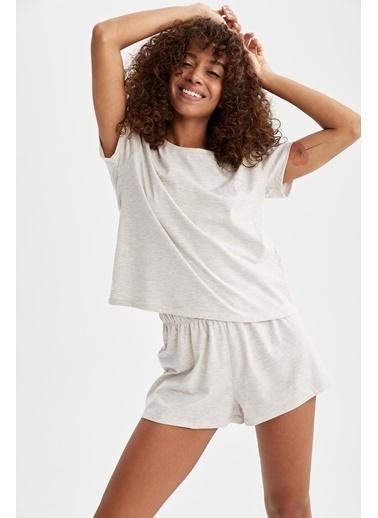 DeFacto Slogan Baskılı Relax Fit Pijama Takımı Bej